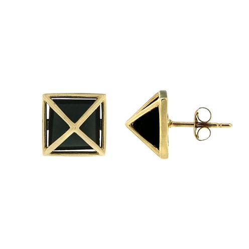 Black Onyx 14K Gold Stud Earrings
