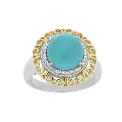 Womens 1/10 CT. T.W. Blue Turquoise 14K Gold Over Silver Sterling Silver Halo Ring