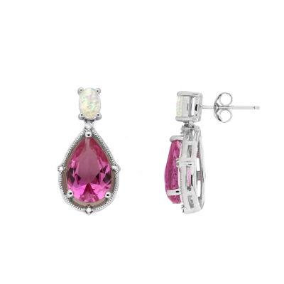 Diamond Accent Pink Sapphire Drop Earrings
