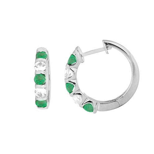 Genuine Emerald Sterling Silver Hoop Earrings
