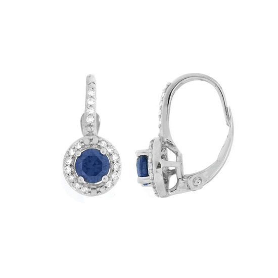 Lab Created Blue And White Sapphire 10K White Gold Earrings