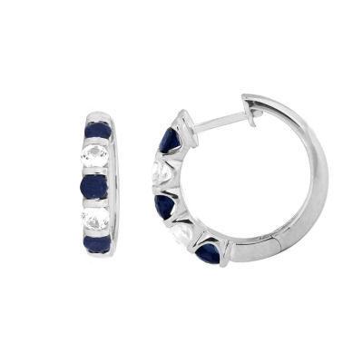 Lab Created Blue Sapphire Sterling Silver 20mm Hoop Earrings
