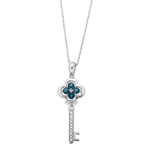 Womens Diamond Accent Blue Sapphire 10K Gold Pendant Necklace