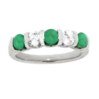Womens 4mm Genuine Green Emerald Sterling Silver Side Stone Ring