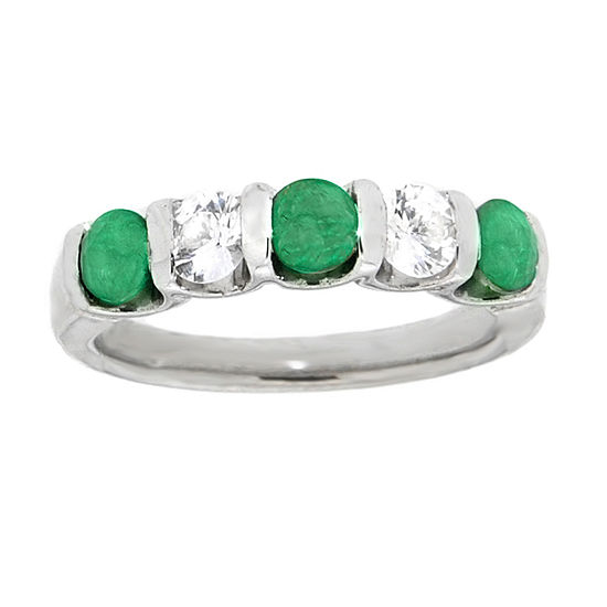 Womens 4MM Genuine Green Emerald Sterling Silver Side Stone Band