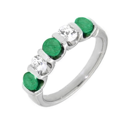 Womens Green Emerald Sterling Silver Side Stone Ring