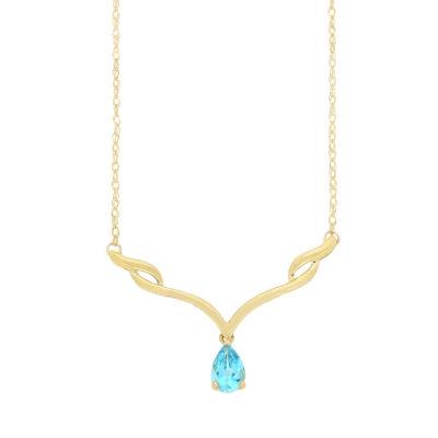 Womens Blue Blue Topaz 10K Gold Collar Necklace
