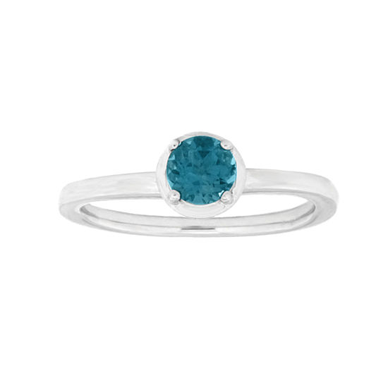 Womens Genuine Blue Topaz Sterling Silver Solitaire Cocktail Ring