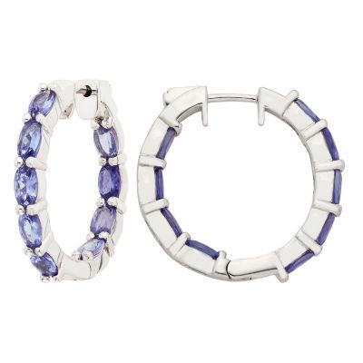 Blue Tanzanite Sterling Silver 27mm Hoop Earrings