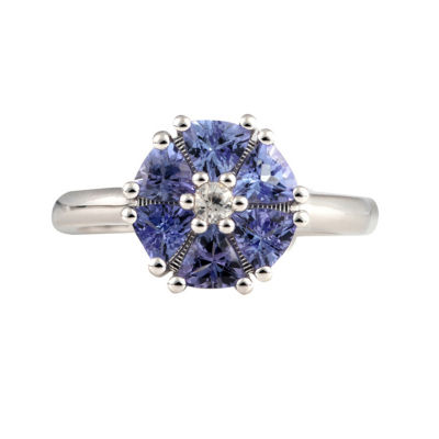 Womens Purple Tanzanite Sterling Silver Halo Cocktail Ring
