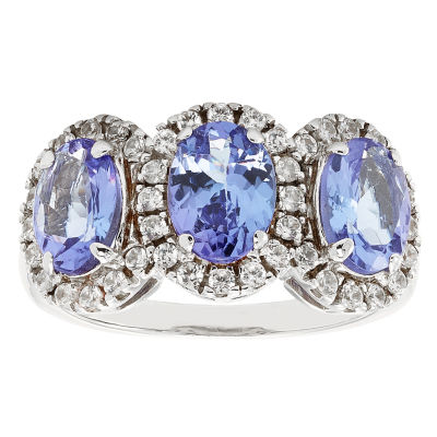Womens Blue Tanzanite Sterling Silver 3-Stone Ring