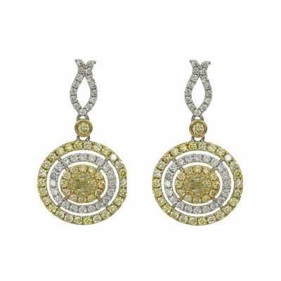 1 1/2 CT. T.W. Genuine Yellow Diamond 14K Gold Drop Earrings
