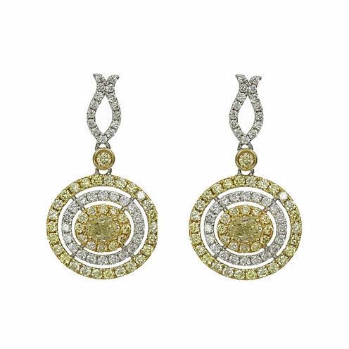 1 1/2 CT. T.W. Yellow Diamond 14K Gold Drop Earrings