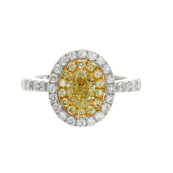 Womens 1 1/2 CT. T.W. Genuine Oval Yellow Diamond 18K Gold Engagement Ring