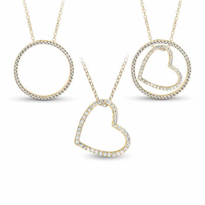 18K Gold over Silver 3-in-1 Cubic Zirconia Circle Heart Necklace