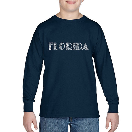 Los Angeles Pop Art The Names Of Popular Cities In Florida Boys Crew Neck Long Sleeve Graphic T-Shirt Big Kid