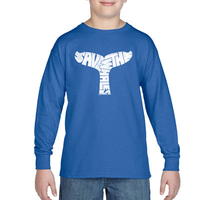 Los Angeles Pop Art Save The Whales Boys Crew Neck Long Sleeve Graphic T-Shirt-Big Kid