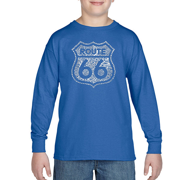 Los Angeles Pop Art Get Your Kicks On Route 66 Long Sleeve Boys Word Art T-Shirt