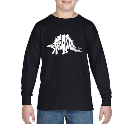 Los Angeles Pop Art Design Created Out The Word Stegosaurus Graphic T-Shirt-Big Kid Boys