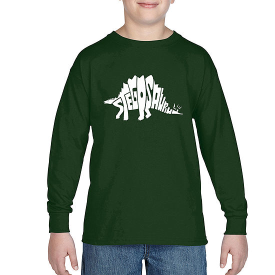 Los Angeles Pop Art Design Created Out The Word Stegosaurus Boys Crew Neck Long Sleeve Graphic T-Shirt - Big Kid
