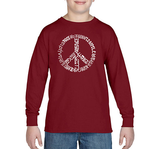 Los Angeles Pop Art The Word Peace In 20 Different Languages Graphic T-Shirt-Big Kid Boys