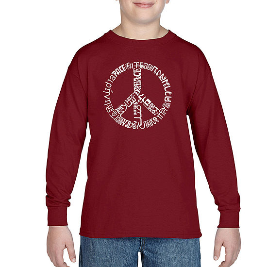 Los Angeles Pop Art The Word Peace In20 Different Languages Boys Crew Neck Long Sleeve Graphic T Shirt Big Kid
