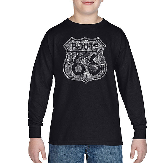 Los Angeles Pop Art Attractions And Stops Along Route 66 Boys Crew Neck Long Sleeve Graphic T-Shirt - Big Kid