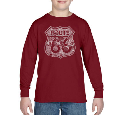 Los Angeles Pop Art Attractions And Stops Along Route 66 Boys Crew Neck Long Sleeve Graphic T-Shirt-Big Kid