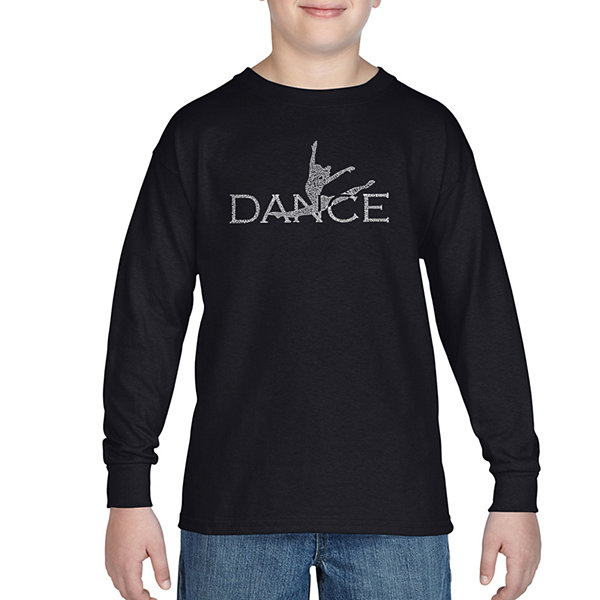 Los Angeles Pop Art Created Out Of Popular StylesOf Dance Long Sleeve Boys Word Art T-Shirt