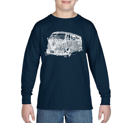 Los Angeles Pop Art Sayings And Images That DefineThe 70s Long Sleeve Boys Word Art T-Shirt