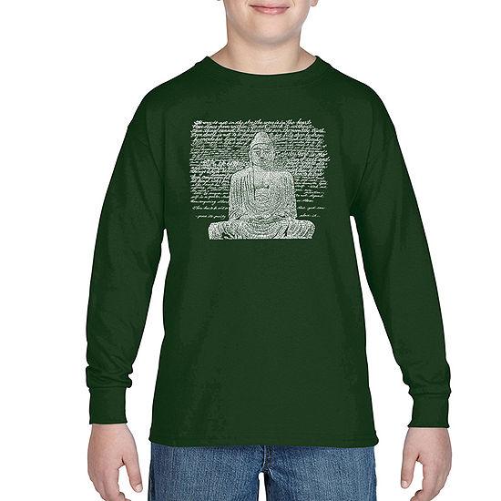 Los Angeles Pop Art 50 Popular Zen Inspirational Quotes Boys Crew Neck Long Sleeve Graphic T Shirt Big Kid