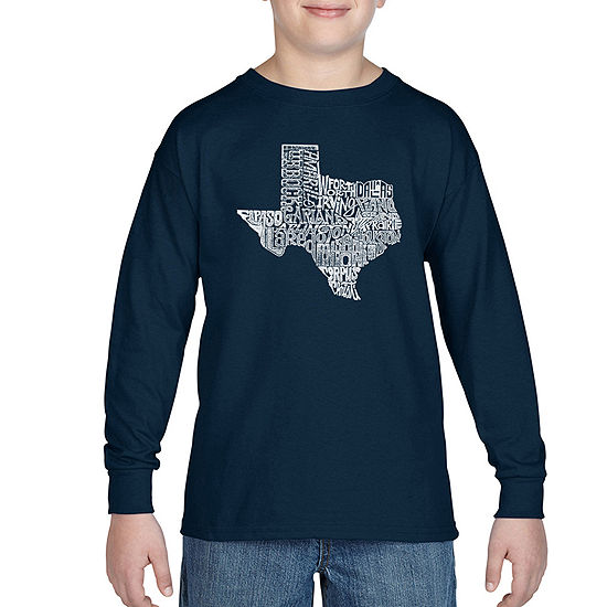 Los Angeles Pop Art Most Popular Cities In Texas Boys Crew Neck Long Sleeve Graphic T-Shirt - Big Kid