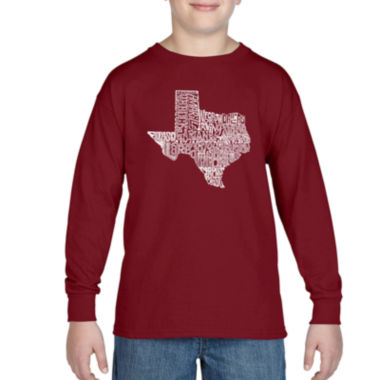 Los Angeles Pop Art Most Popular Cities In Texas Long Sleeve Boys Word Art T-Shirt