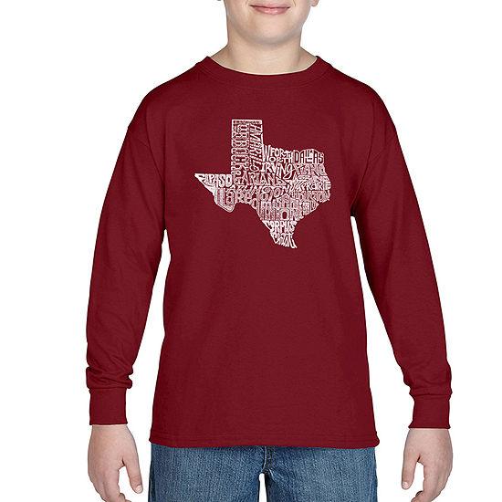 Los Angeles Pop Art Most Popular Cities In Texas Boys Crew Neck Long Sleeve Graphic T Shirt Big Kid