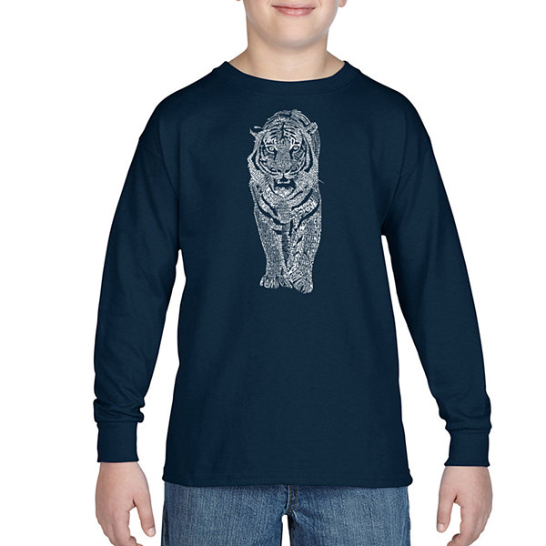 Los Angeles Pop Art A List Of Popular Endangered Species Long Sleeve Boys Word Art T-Shirt