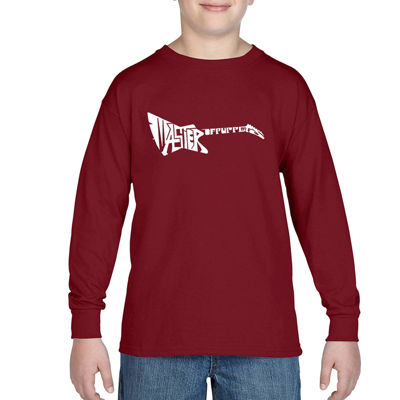 Los Angeles Pop Art Created Of The Words Master Of Puppets Boys Crew Neck Long Sleeve Graphic T-Shirt-Big Kid