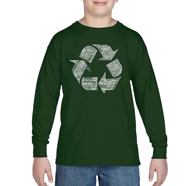 Los Angeles Pop Art 86 Recyclable Items Long Sleeve Boys Word Art T-Shirt