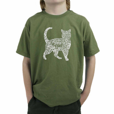 Los Angeles Pop Art Created Out Of Cat Themed Words Boys Crew Neck Graphic T-Shirt-Big Kid