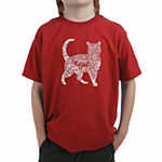 Los Angeles Pop Art Created Out Of Cat Themed Words Boys Crew Neck Graphic T-Shirt - Big Kid