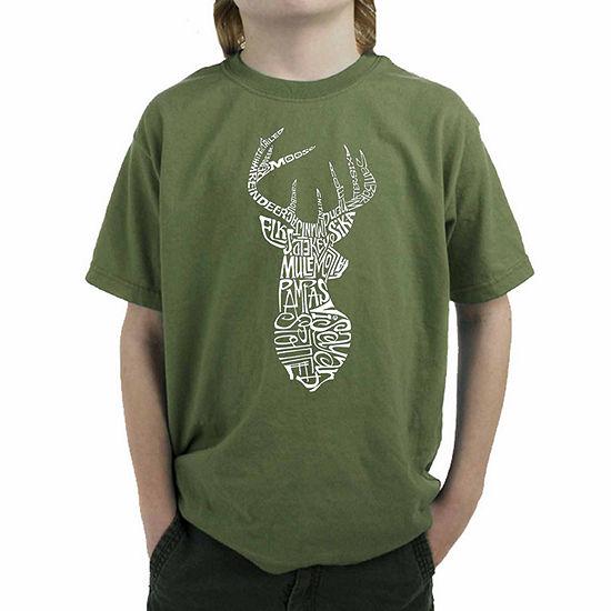 Los Angeles Pop Art Popular Types Of Deer Boys Crew Neck Graphic T-Shirt Big Kid