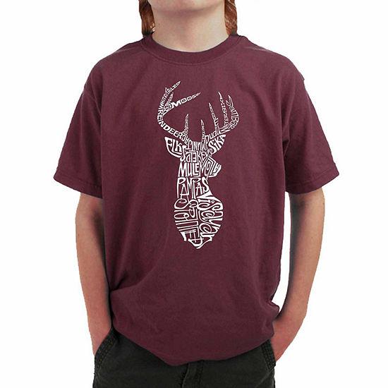 Los Angeles Pop Art Popular Types Of Deer Boys Crew Neck Graphic T-Shirt - Big Kid