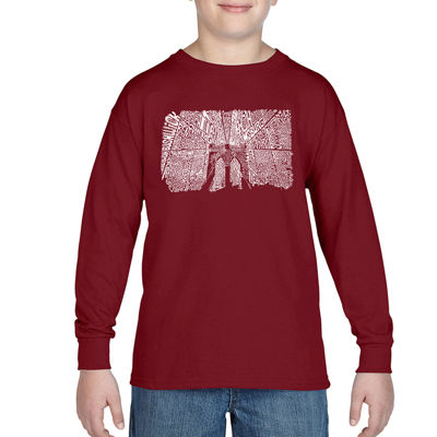Los Angeles Pop Art Popular Brooklyn NeighborhoodsLong Sleeve Boys Word Art T-Shirt