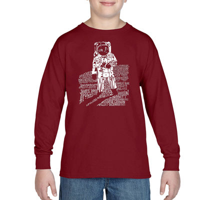 Los Angeles Pop Art Those That Walked Moon And Moon Missions Boys Crew Neck Long Sleeve Graphic T-Shirt-Big Kid