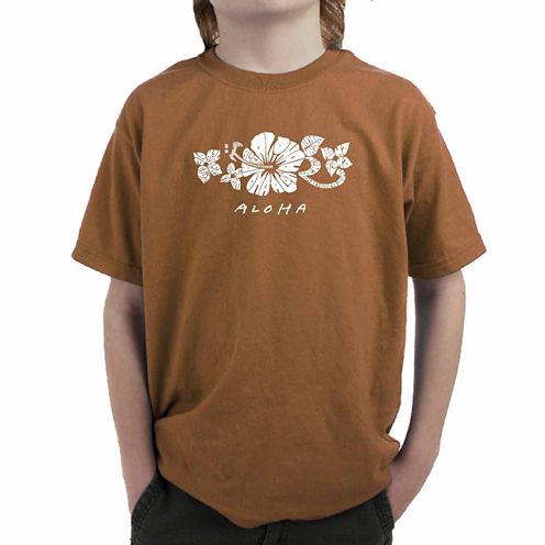 Los Angeles Pop Art The Word Aloha Graphic T-Shirt-Big Kid Boys
