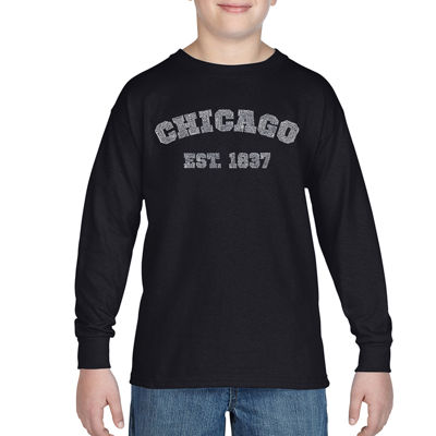 Los Angeles Pop Art The Names Of Chicago Neighborhoods Graphic T-Shirt-Big Kid Boys