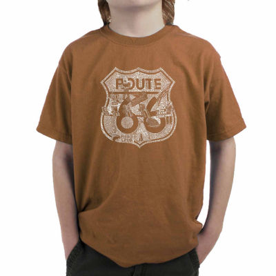 Los Angeles Pop Art Attractions And Stops Along Route 66 Graphic T-Shirt-Big Kid Boys