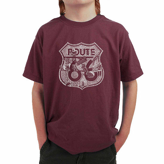 Los Angeles Pop Art Attractions And Stops Along Route 66 Boys Crew Neck Short Sleeve Graphic T-Shirt - Big Kid
