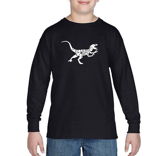 Los Angeles Pop Art Created Out Of The Word Velociraptor Long Sleeve Boys Word Art T-Shirt