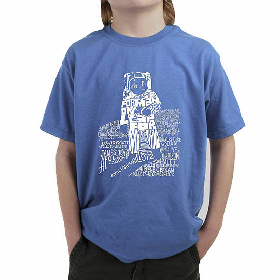 Los Angeles Pop Art Those That Walked Moon And Moon Missions Boys Crew Neck Short Sleeve Graphic T-Shirt - Big Kid