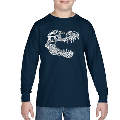 Los Angeles Pop Art Trex Skull Using Popular Dinosaur Names Long Sleeve Boys Word Art T-Shirt